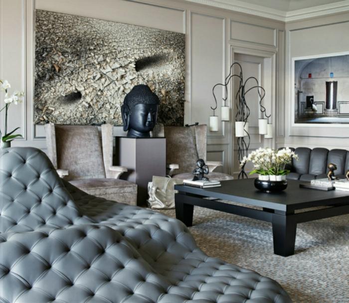 eine graue Einrichtung, niedriger schwarzer Tisch, Dekoideen Wohnzimmer