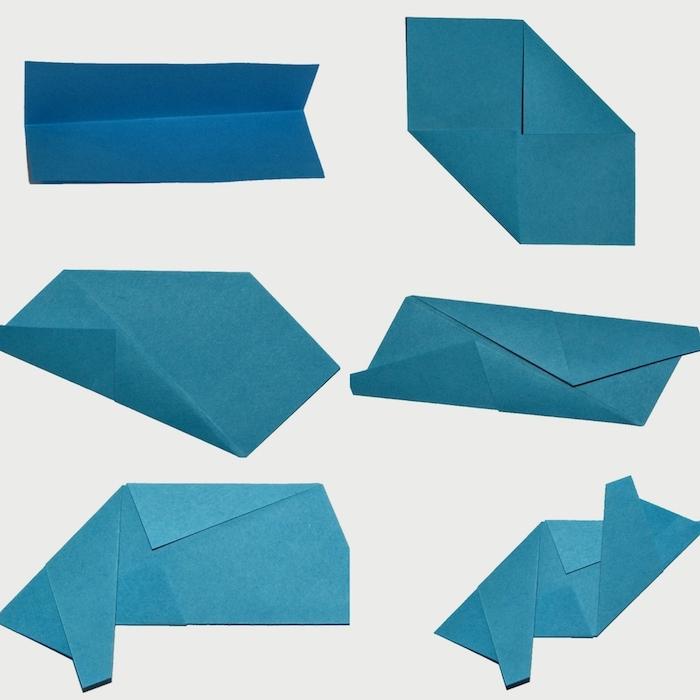 ein blaues blatt papier falten, eine bascetta stern anleitung, einen blauen origami stern falten schritt für schritt