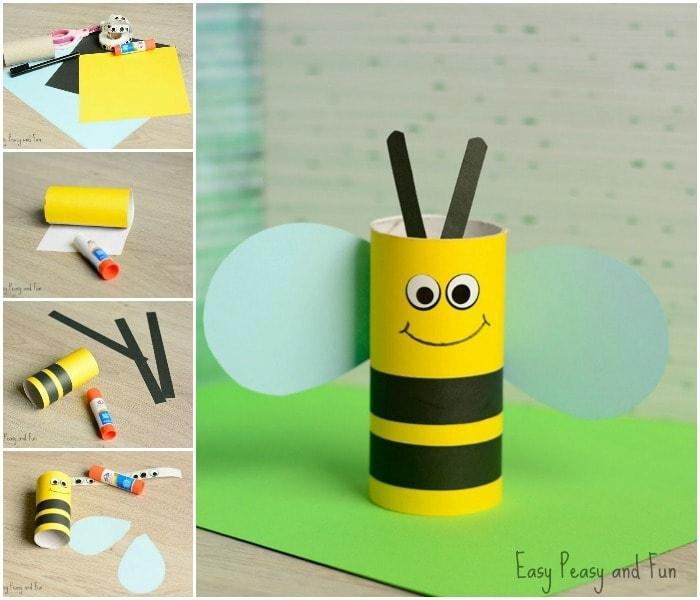 Basteln mit Klorollen, eine Biene in gelber und schwarzer Farbe, eine Anleitung
