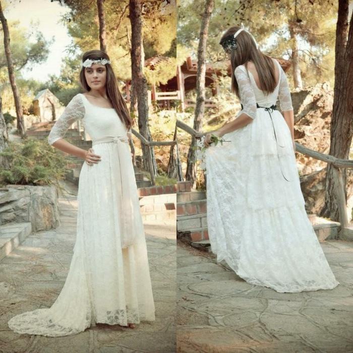 zwei Fotos von Brautkleid, von vorn und von hintern, Brautkleid Boho Spitze