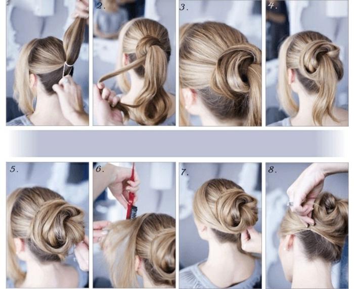 wie macht man einen Dutt in einigen Schritten, langes, blondes Haar