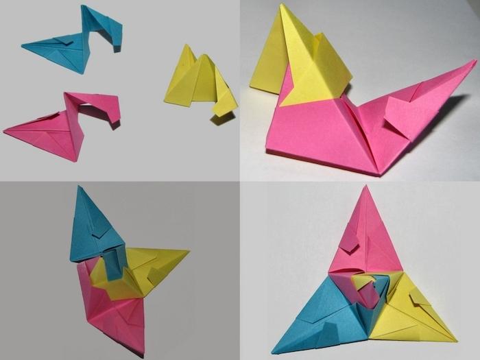 gelbe, blaue und pinke origami formen aus papier, origami falten, eine schritt für schritt diy bascetta stern anleitung