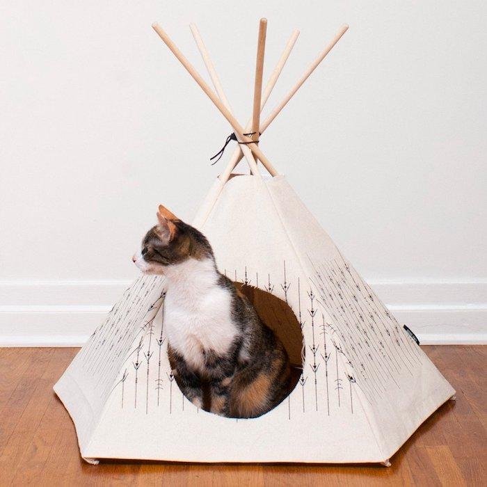 ein boden aus holz und eine weiße wand, bastelideen für erwachsene, ein kleines mini tipi zelt mit langen stöcken aus holz, katzenzelt selber bauen, eine katze und ein tipi