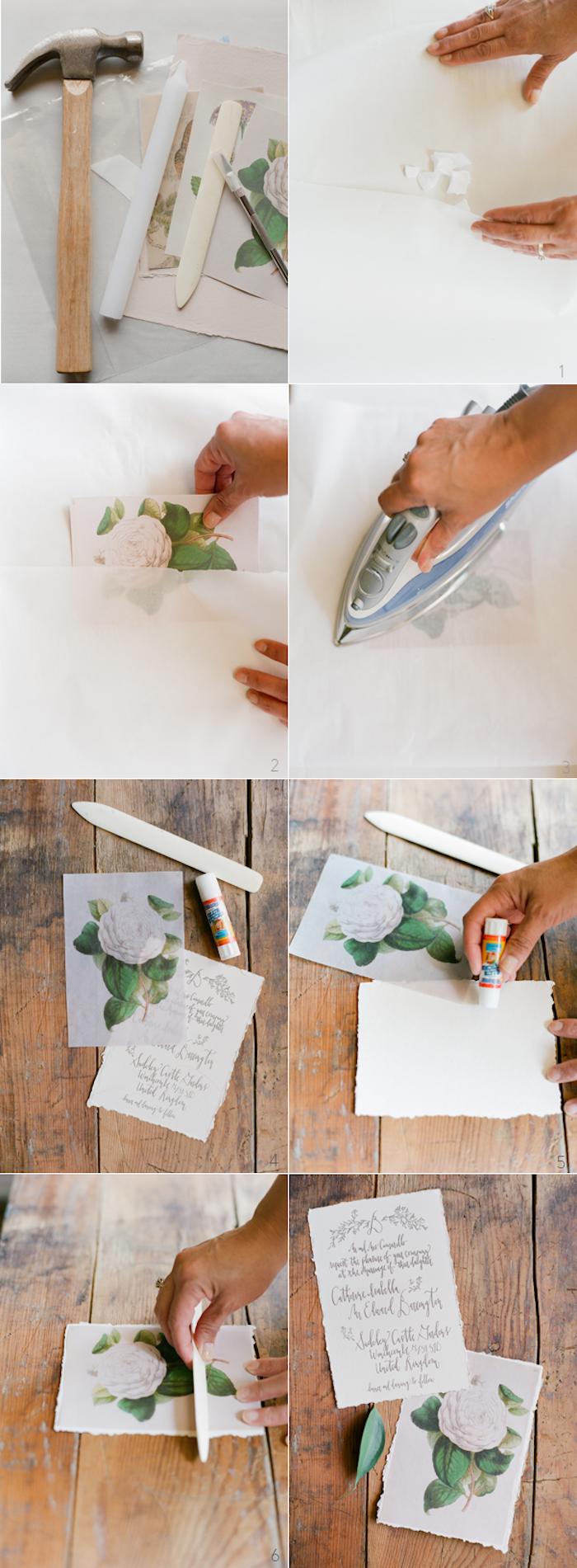 einladungskarten hochzeit vintage, karten aus wachspapier selber machen, retro stil