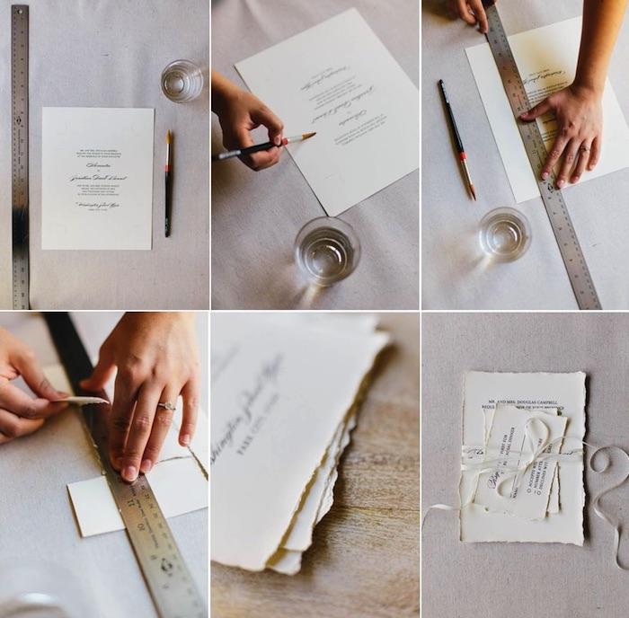 einladungskarten selbst gestalten, büttenrand selber machen, weiße schleife, hochzeit ideen