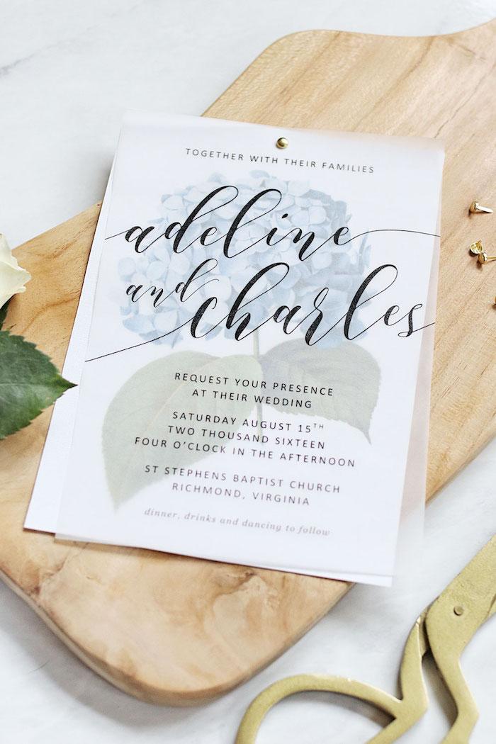 einladungskarten vintage, hochzeitseinladung aus wachspapier, goldene schere