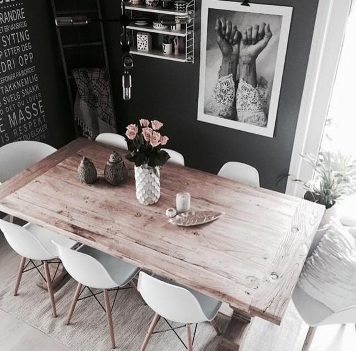 In Schwarz Und Weiß Das Eigenen Esszimmer Gestalten, Wandbild Mit Zwei  Händen, Aufschriften An