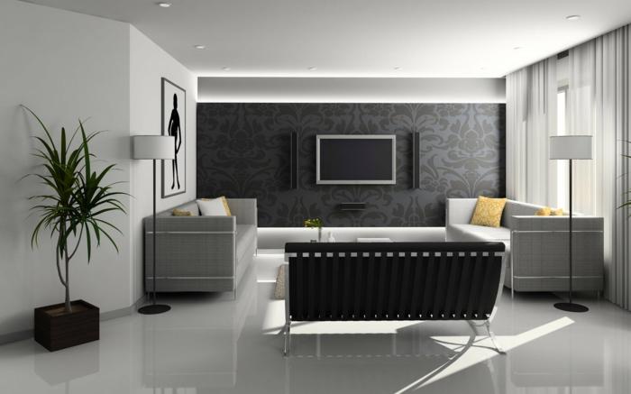 ein symmetrisch gestaltetes Wohnzimmer, Dekoideen Wohnzimmer, schwarzer Fernsehwand