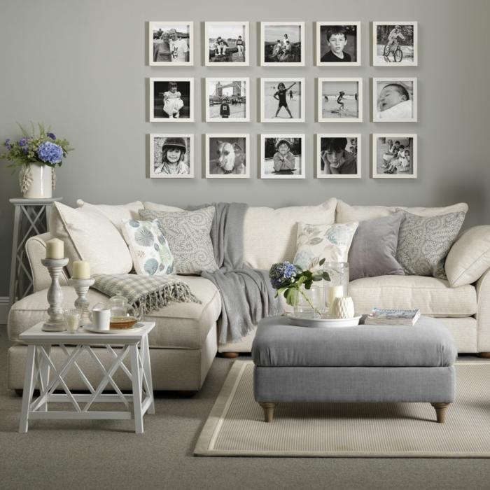 ein Fotowand, moderne Wandfarben, weiße Kissen und graue Decken