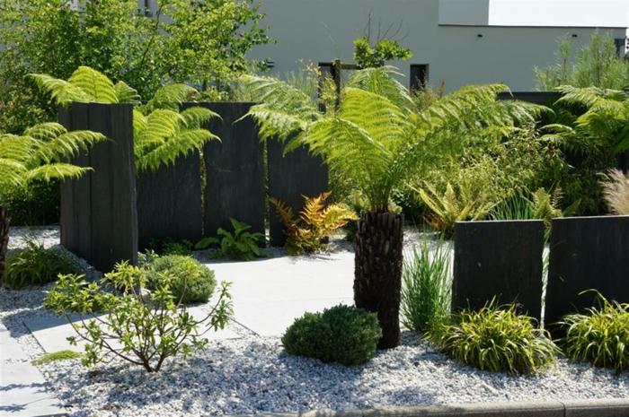 garten englisch einrichten, dekorieren, kleine palme, schöne design ideen für gärten