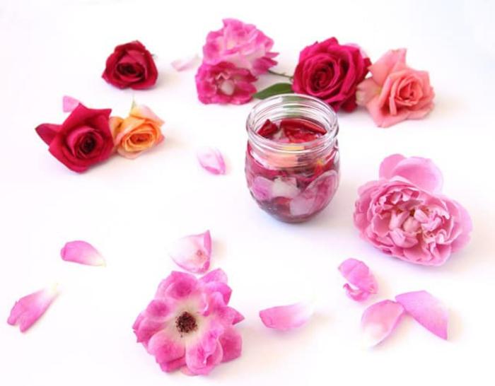 körperpeeling selber machen eine idee aus rosa blumen, rosarot, orange, rosa, ideen