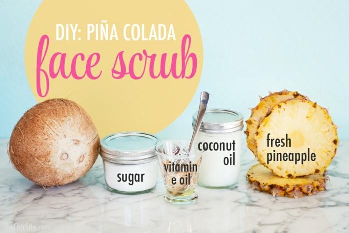 körperpeeling selber machen, zucker, votamine, kokosnussöl, frisches ananas scrub