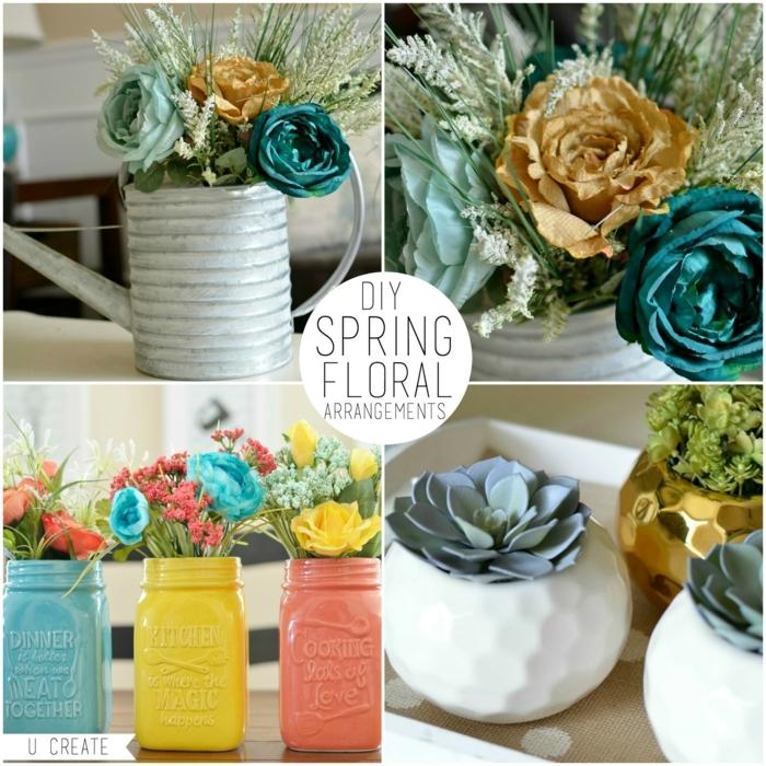 tischdekoration selber machen, kreative gestaltungsideen in konservendosen oder einmachgläser, bunte deko zu hause, blaue rose