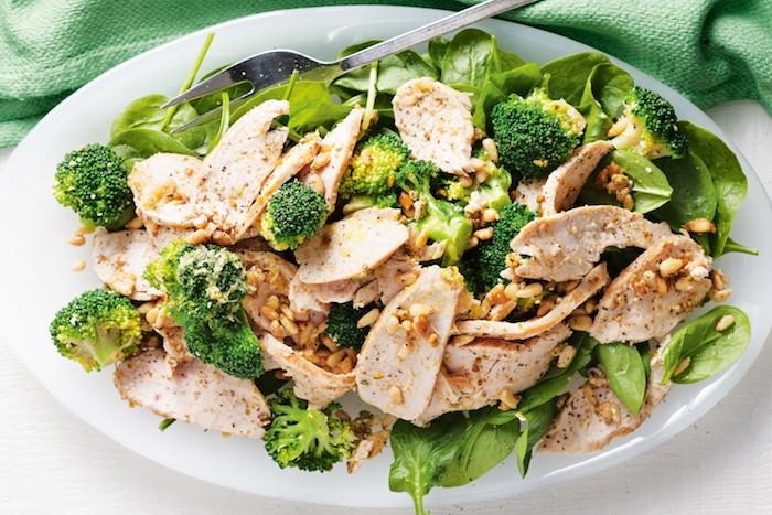 großer teller mit fleisch und gemüsen, salatblätter, brokkoli, gesundes abendessen warm