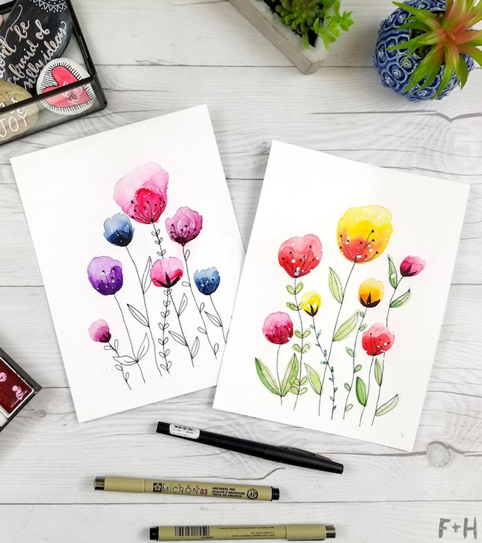 Selbstgemachte Glückwunschkarten, Blumen selber zeichnen, DIY Idee zum Nachmachen
