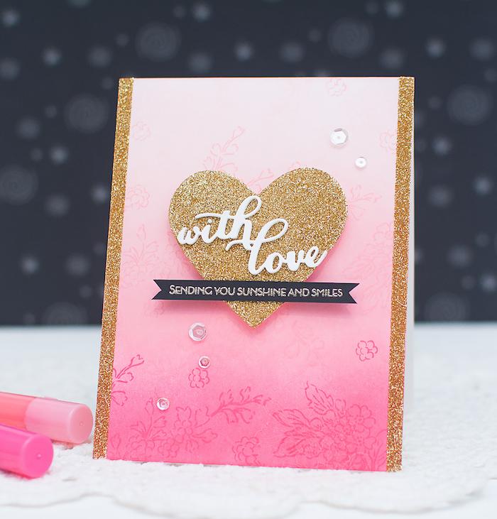 Glückwunschkarte selbst gestalten, mit Liebe gemacht, mit goldenem Glitter verziert