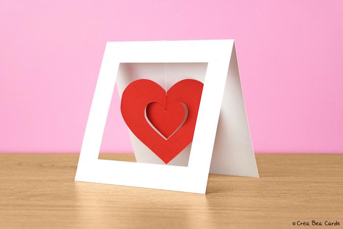 Hochzeitskarte basteln, Idee für selbstgemachte Pop Up Karte, mit rotem Herzen