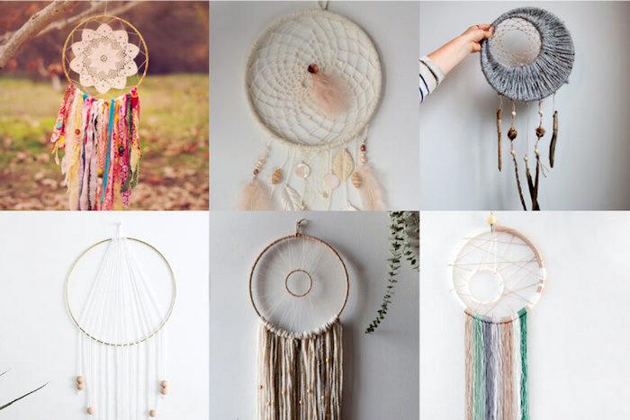 großer traumfänger, unterschiedliche dreamcatcher designs zum selbermachen, collage aus bildern