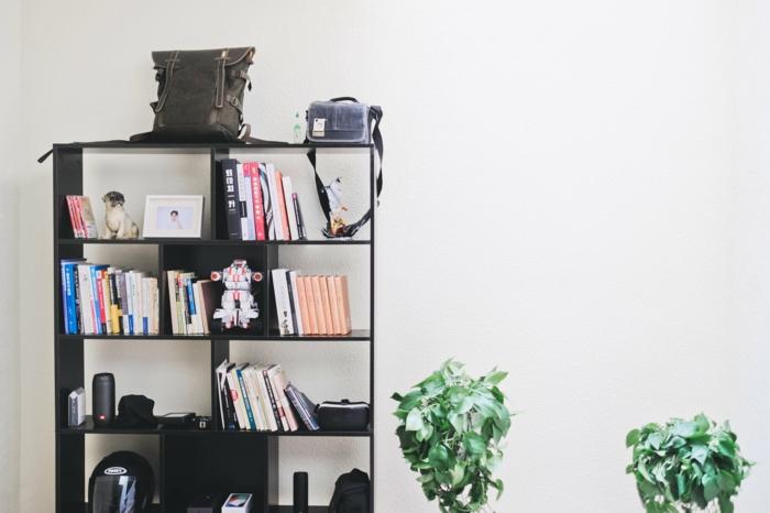 ein schwarzes Regal, bunte Bücher, Damentaschen, moderne Wandfarben