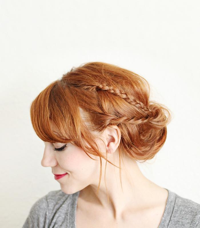 Dutt Frisur mit dünnen Zöpfen, Frisur Ideen für lange und mittellange Haare