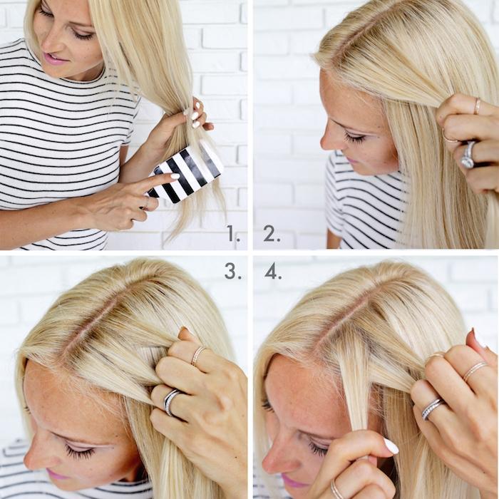 Idee für halboffene Frisur, Anleitung in vier Schritten, Frisur für lange und mittellange Haare