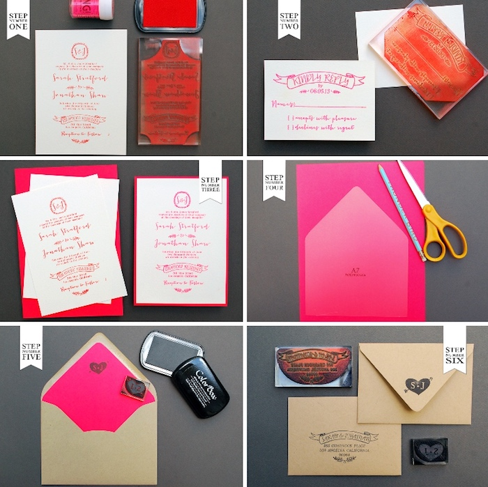 hochzeitseinladungen selber basteln, neonrosa papier, einladungskarte personalisieren, bilder anleitung