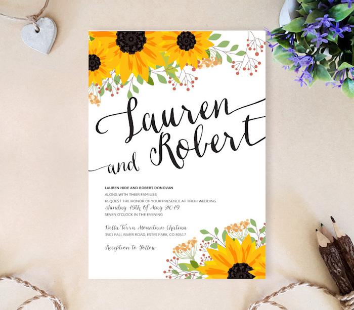 hochzeitseinladungen selber machen, einladungskarte mit sonnenblumen, sommer hochzeit