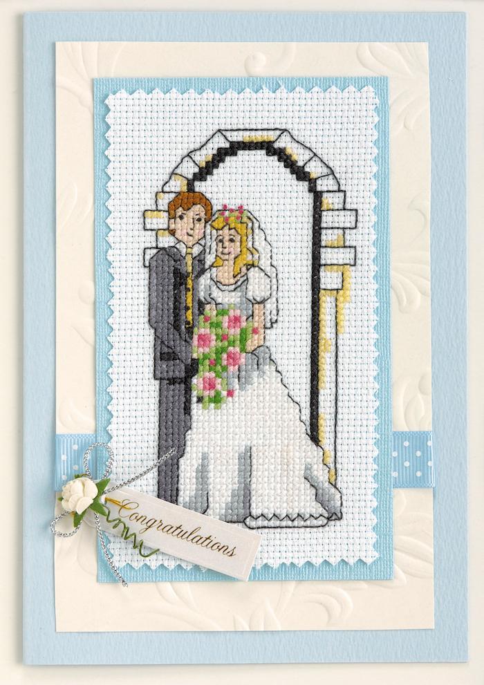 Kreative Idee für selbstgemachte Hochzeitskarte, Fadenbild selbst gestalten