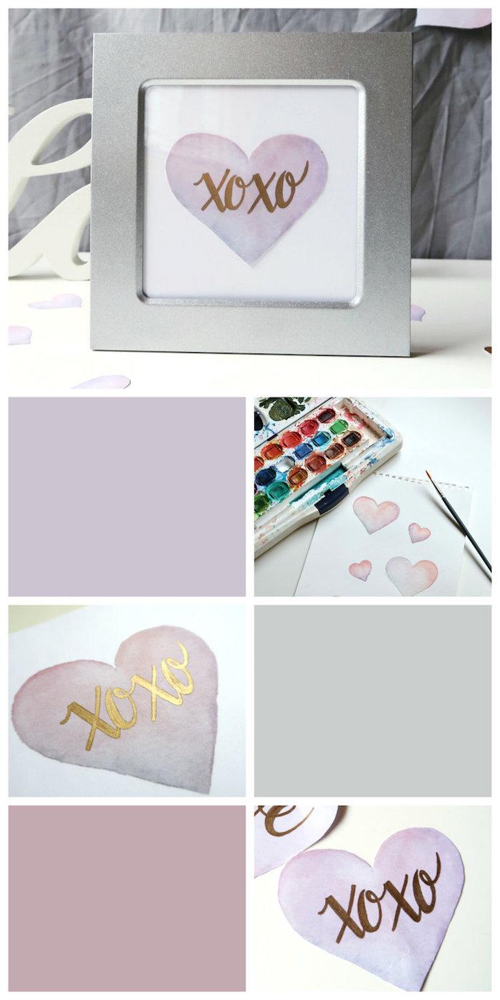 Herz mit Wasserfarbe zeichnen, in Rahmen stecken, DIY Idee für kleines Hochzeitsgeschenk