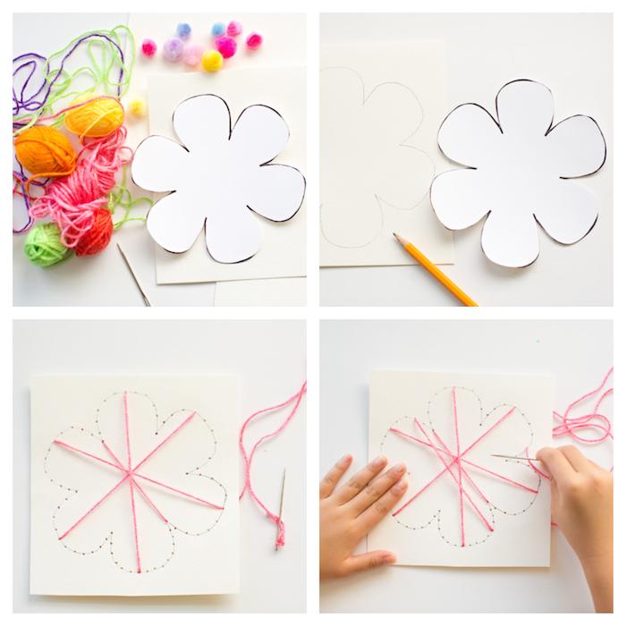 Karten selber basteln, DIY Idee für Kinder, Blume aus Garn, Anleitung in vier Schritten