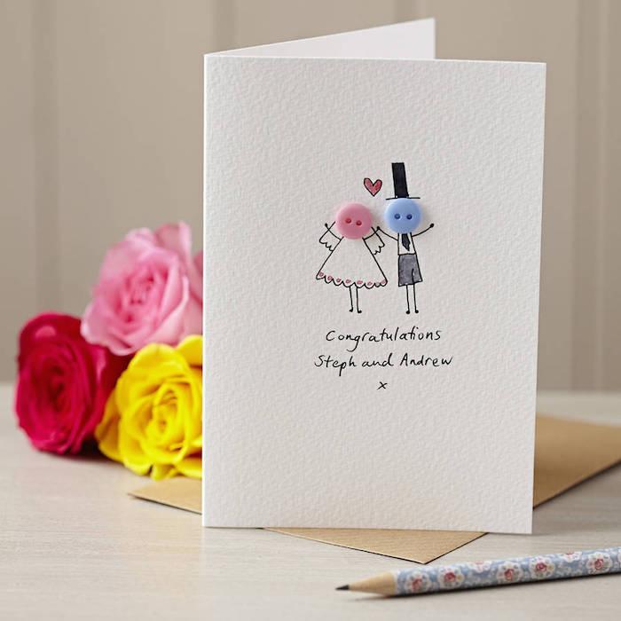 DIY Idee für Hochzeitskarte, Köpfe aus Knöpfen, personalisierte Karte selber basteln