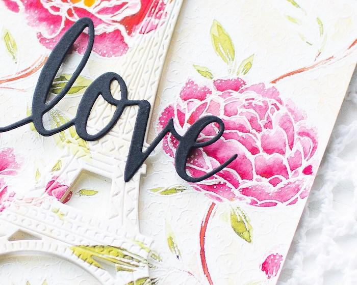 Idee für schöne selbstgemachte Hochzeitskarte, mit Blumen und dem Eiffelturm, schwarze Aufschrift Love