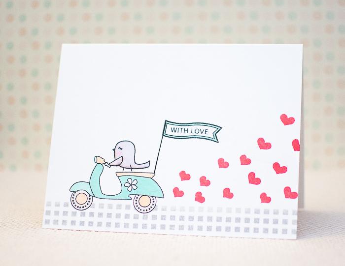 Lustige Hochzeitskarte selbstgemacht, kleines Vögelchen fährt Scooter, kleine rote Herzen