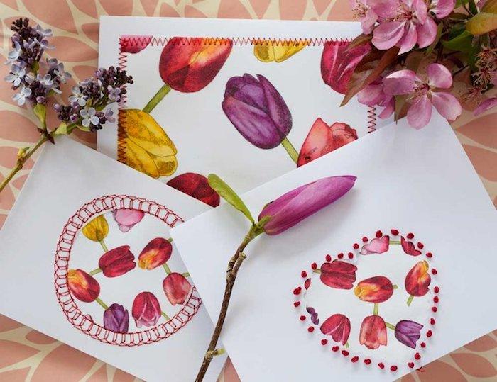 Karten selbst gestalten, mit Frühlingsblumen, bunte Tulpen, Karten für jeden Anlass