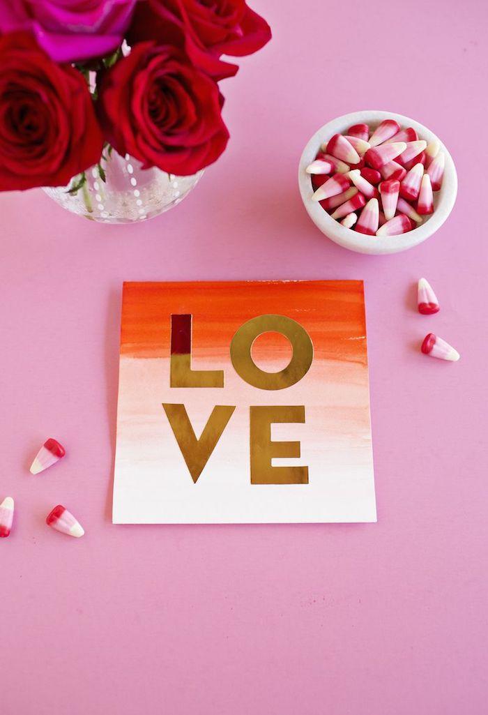 Idee für selbstgemachte Hochzeitskarte, Ombre Effekt, goldene Aufschrift