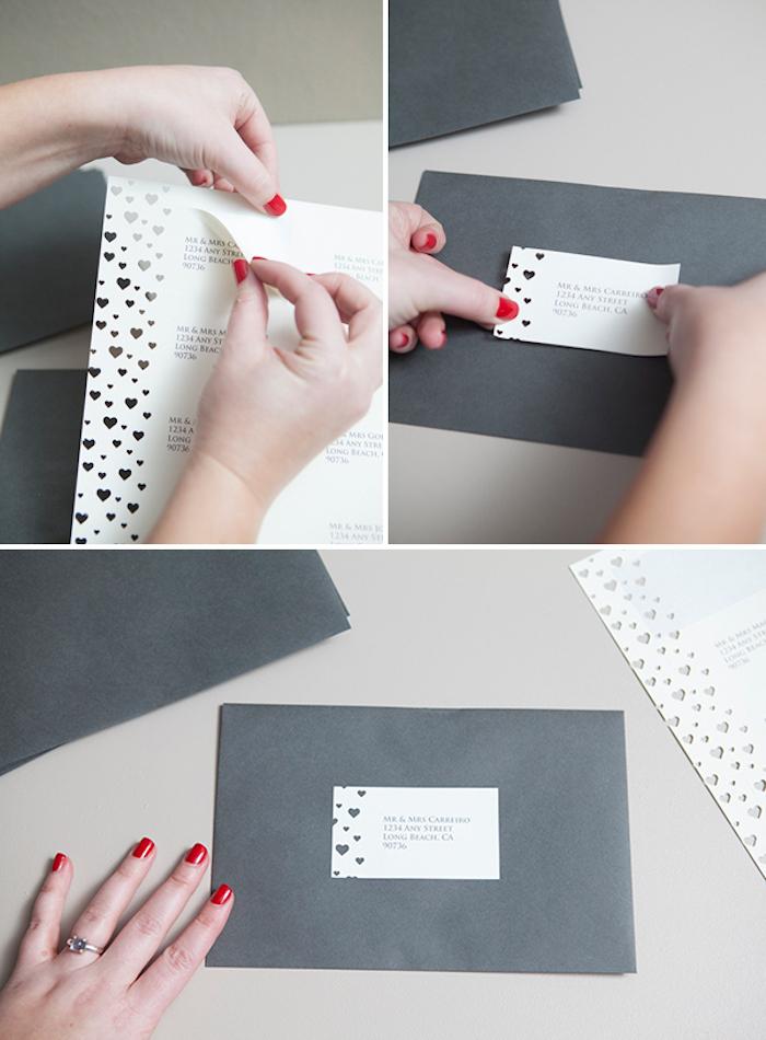 hochzeitskarten selber basteln, roter nagellack, briefumschlag aus grauem papier dekorieren