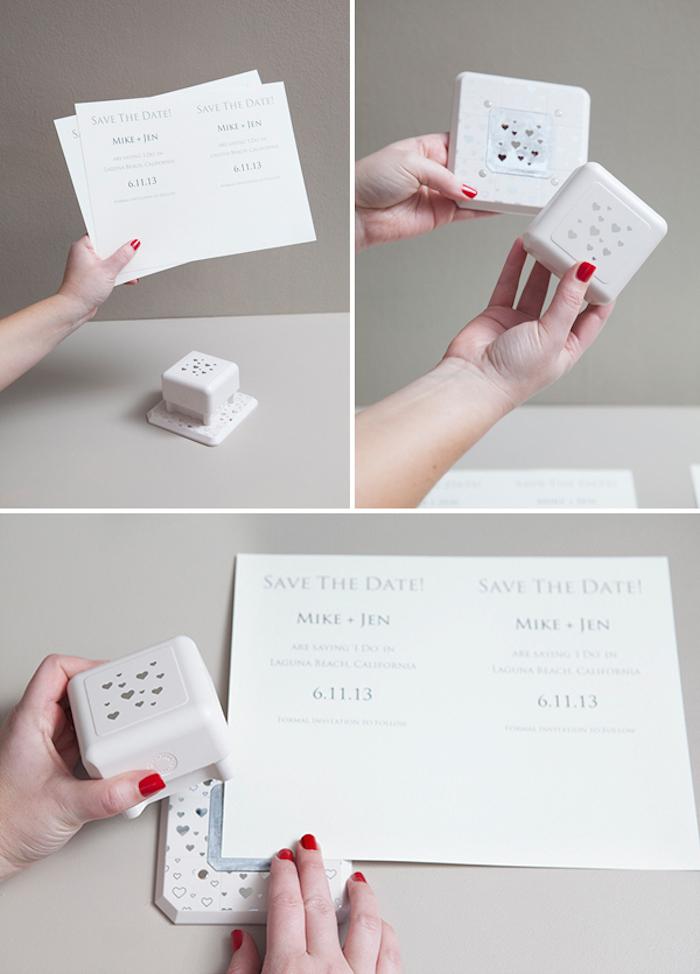 hochzeitskarten selber basteln, weißes papier, kleine herzen, roter nagellack, diy ideen
