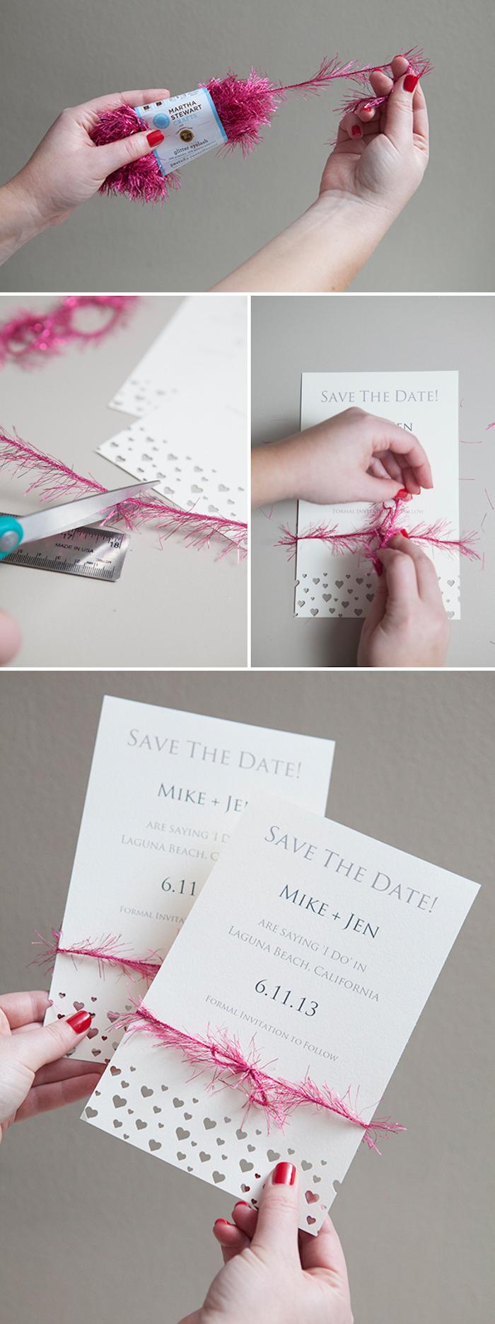 hochzeitskarten selber basteln, einladungskarten dekorieren, schleife aus rosa girlande