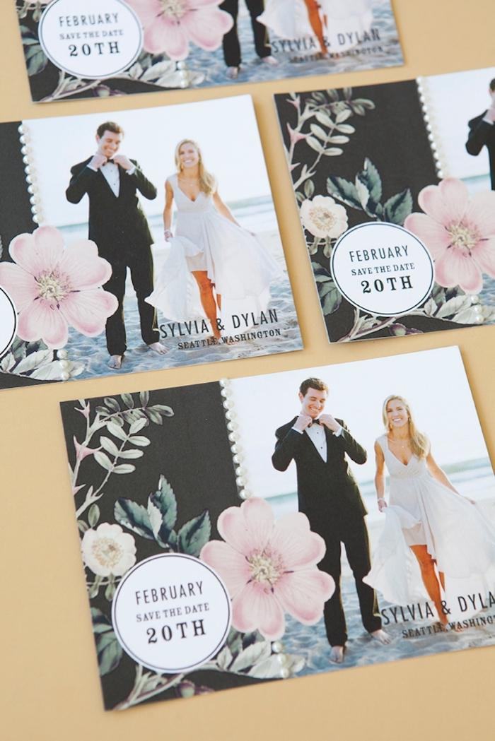 hochzeitskarten selbst basteln, selbstgebastelte einladungskarten mit foto, braut und bräutigam