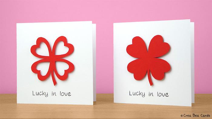 Hochzeitskarte mit vierblättrigem Kleeblatt selbst gestalten, Applikationen aus rotem Papier