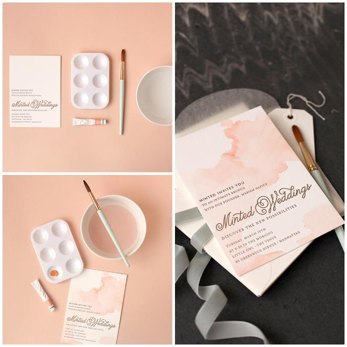 hochzeitskarten vintage, einladungskarte mit wasserfarben dekorieren, graue schleife