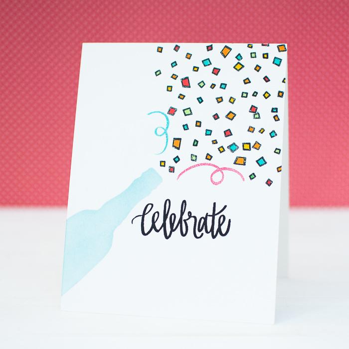 Idee für selbstgemachte Hochzetiskarte, Champagner und Konfetti, schwarze Aufschrift Celebrate