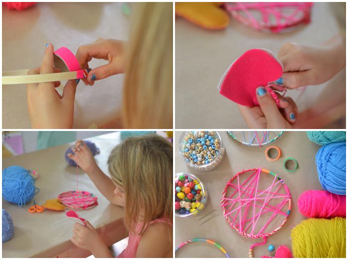 holzring basteln, trickrahmen mit rosa faden dekorieren, washi tapes, herzen aus stoff, basteln mit kidern