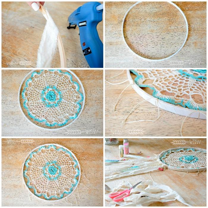holzringe zum basteln, weißer streifen stoff am holzring befestigen, strickerei in weiß und blau