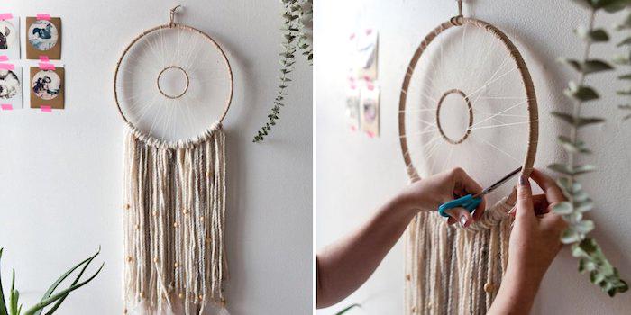 holzringe zum basteln, wanddeko selber machen, zwei holzringe in verschiedener größe, lange streifen garn
