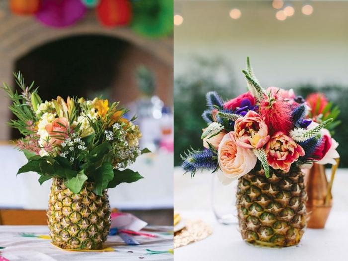 tischdeko ideen mit ananas, kreative und schöne effekte, bunte blumen in eine vase aus ananas arrangieren
