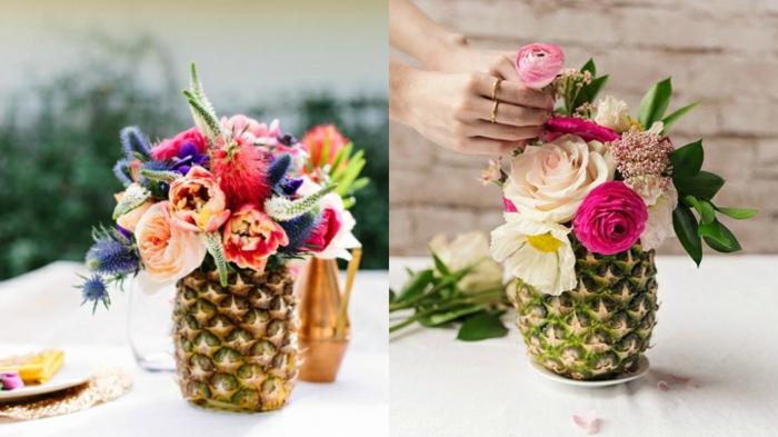 tischdekoration geburtstag, lustige idee mit ananasen, die fruchtflesch raus nehmen und die schale von ananas als vase nutzen, bunte blumen