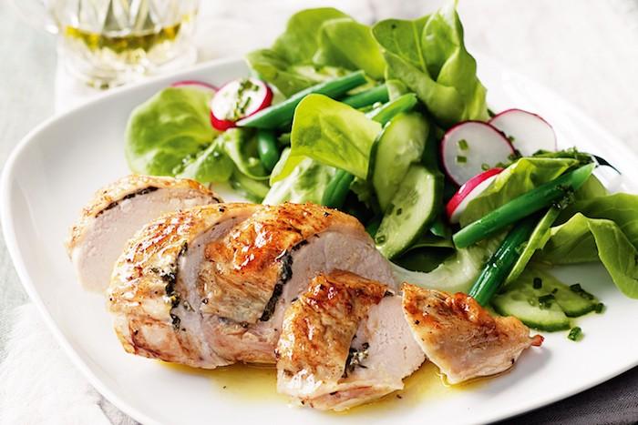 kalorienarm kochen, weißer teller grüner salat mit gurken und radieschen, fleisch