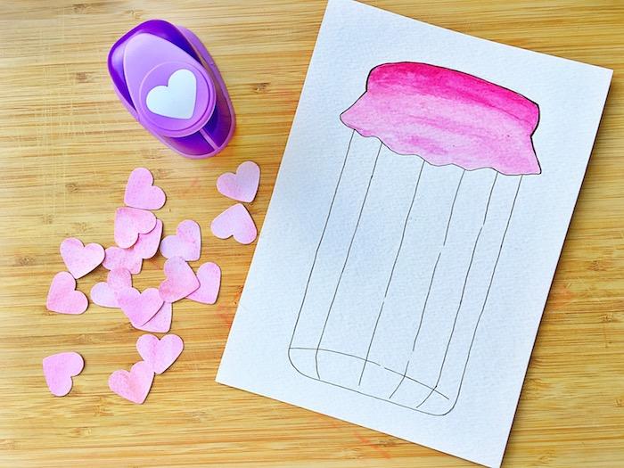 Idee für selbstgemachte Hochzeitskarte, kleine Herzen ausschneiden, Einmachglas zeichnen