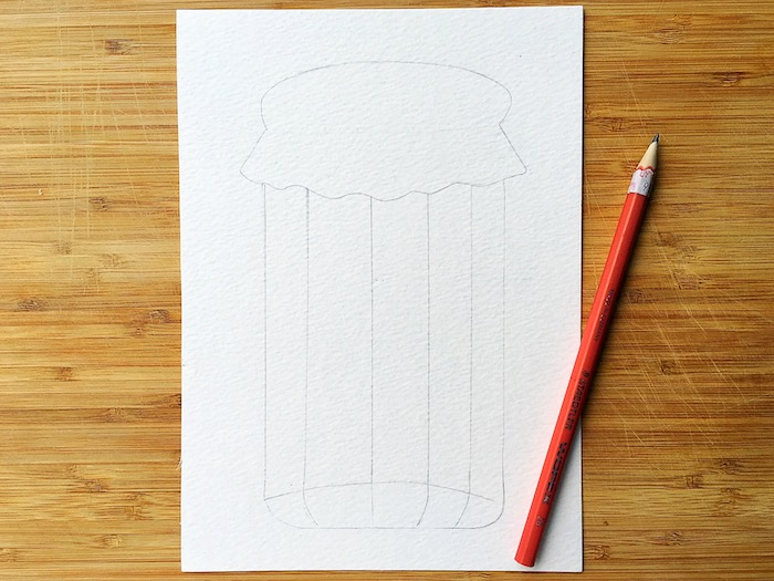 Hochzeitskarte selbst gestalten, Einmachglas voll mit kleinen herzen zeichnen